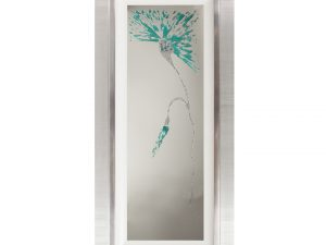 Blossom Blue Teal Flower Mirror Liquid Art W52 x H112