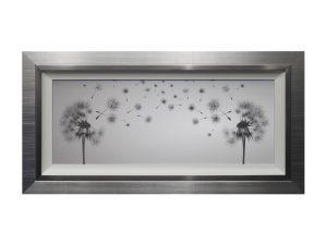 Make a Wish Framed Silver Grey Dandelion Artwork W58 x H114