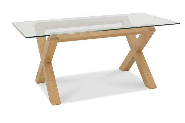 Sopha Avocado light oak glass top dining table