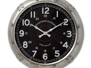 Aviator Silver Black Wall Clock W51 D11 H51
