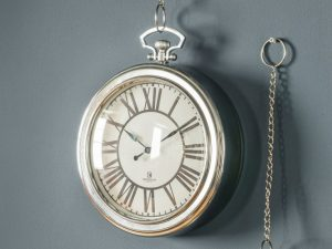 Cairo chrome Roman numeral clock with chain W23.5 D6 H28