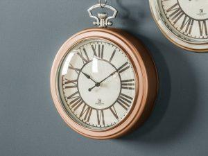 Cairo copper Roman numeral clock with chain W23.5 D6 H28
