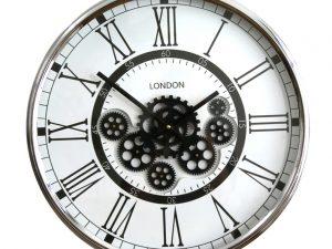 black and white cog Roman numeral wall clock