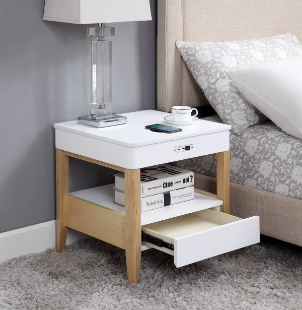 Zest Mandarin Bedside Table with Built-In Charger and Speakers