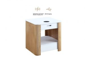 Zest Tangerine Bedside Table with Built-In Charger