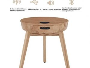 Lemon zest ash lamp table with built in charger and speakers