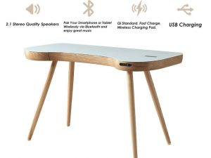 Zest Lime Desk with Built-In Charger and Speakers