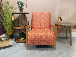 Sopha Candyfloss Accent Chair with Wooden Arms in Sunset Matrix