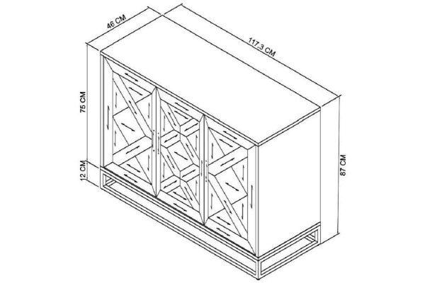 Tarragon Narrow Sideboard - Dimensions