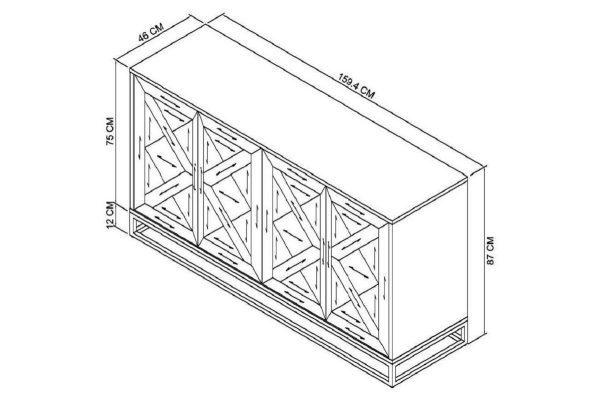 Tarragon Wide Sideboard - Dimensions