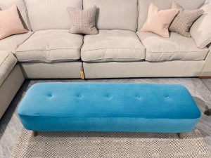 Sopha Victoria Modern Bench Stool in Lumino Turquoise