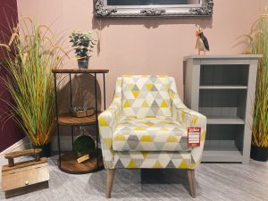 Sopha Banoffee Designer Chair in Brio Mineral with Weathered Oak Feet