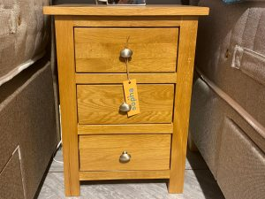 Occasional Oak 3 Drawer Bedside Cabinet