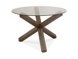 Sopha Avocado dark oak dining glass top round table