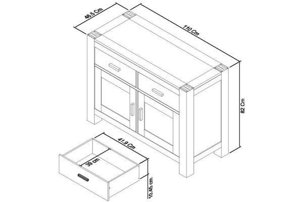 Sopha Avocado light oak narrow sideboard measurements