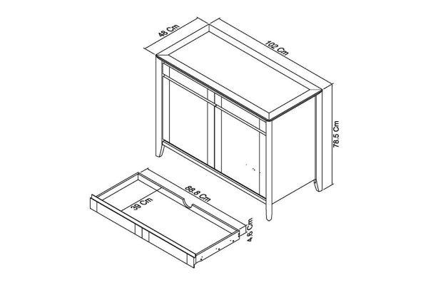 Sopha nutmeg oak narrow sideboard measurements