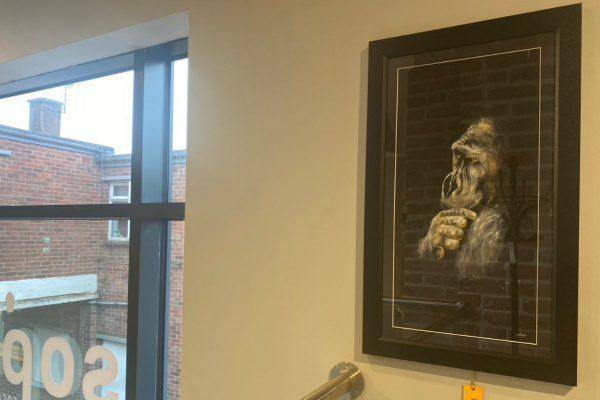 Framed Print - Ponderous, Monochrome Gorilla Portrait