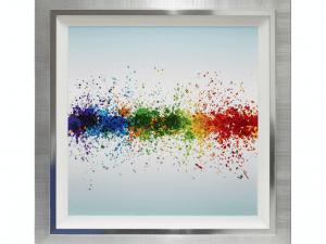 Sopha Colour Splash Liquid Art With Crystals On White Aluminium Sheet Framed Print