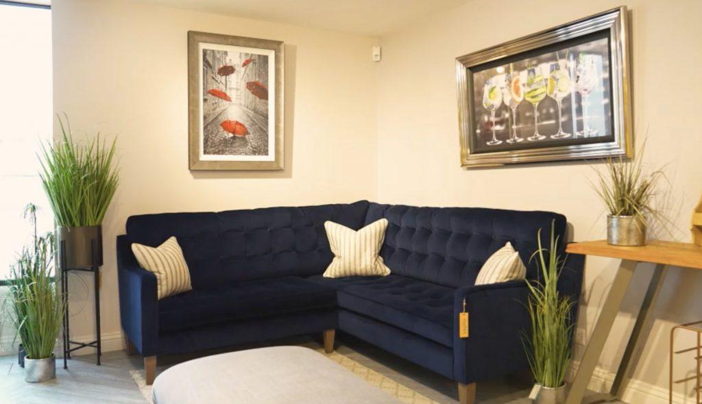 Madeira Dark Blue Velvet Corner Sofa